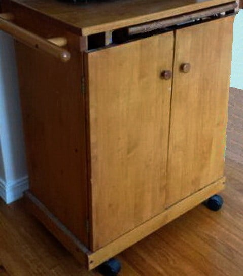 DIY kitchen island from a wooden microwave cart