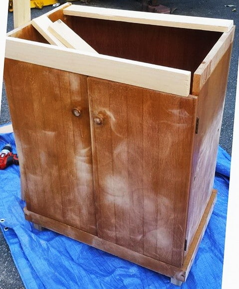 DIY Turn A Microwave Cart Into A Beautiful Rustic Kitchen Island_8