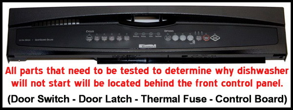 troubleshoot dishwasher no power