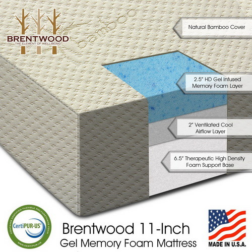 Brentwood 11 inch Gel Infused HD Memory Foam Mattress Made in USA
