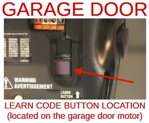 location of garage door opener LEARN button