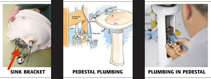 pedestal sink removal and plumbing repair