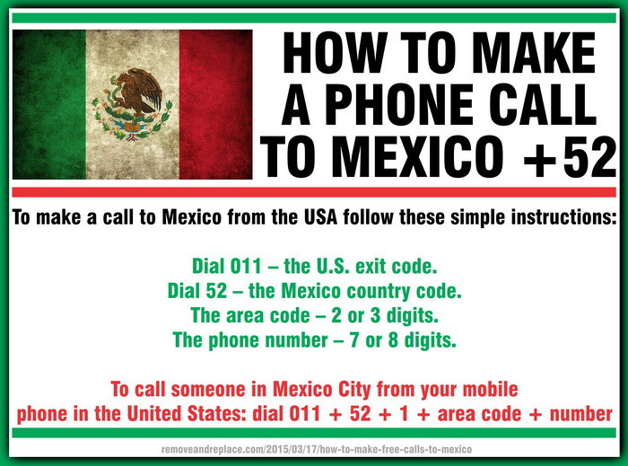 How To Make Free Calls To Mexico RemoveandReplacecom - Area phone codes usa