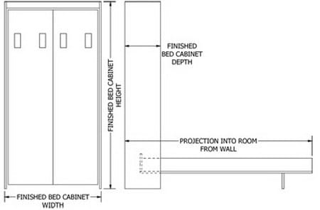 Queen-Size Deluxe Murphy Bed Kit Dimensions