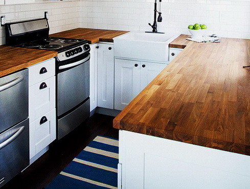 Kitchen Countertops Made of Wood_35