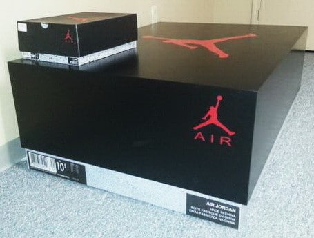 Comparison of regular size Air Jordan box to GIANT Air Jordan storage box