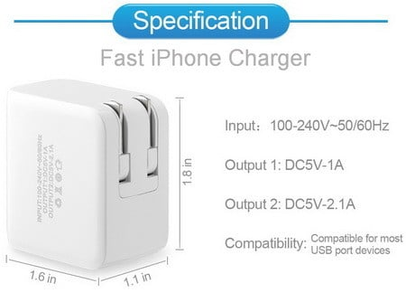 Eaglewood 15W 3.1Amp Dual Port High Speed USB Wall Charger