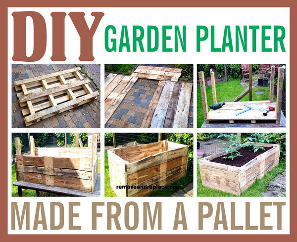 Diy raised garden planter made from a wooden pallet for How to make garden beds from pallets