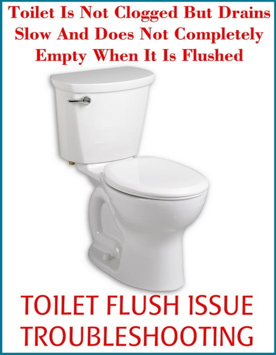 Toilet Is Not Clogged But Drains Slow And Does Not Completely Empty ...