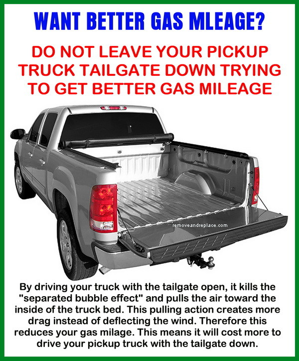 does a pickup truck get better gas mileage with the tailgate up or down. Black Bedroom Furniture Sets. Home Design Ideas