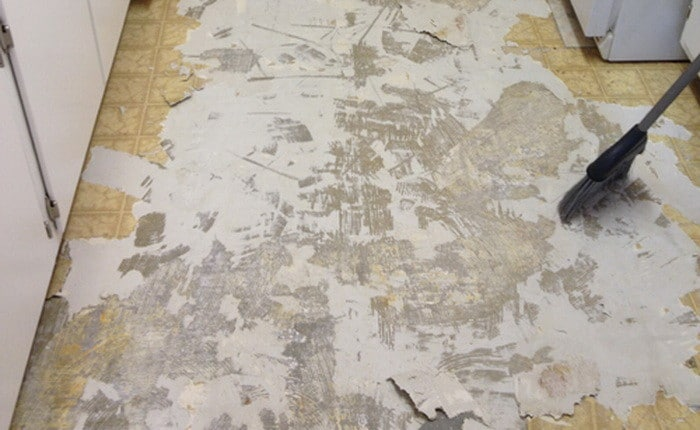 floor after peel and stick tiles removed