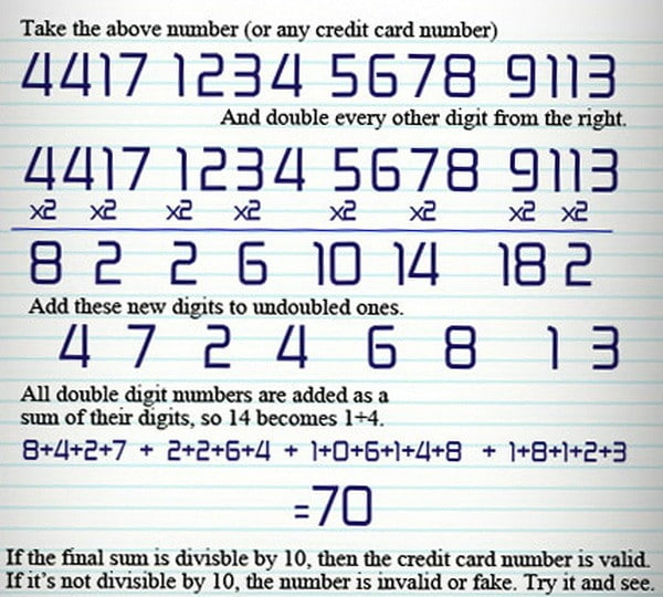 numbers of credit card decoded