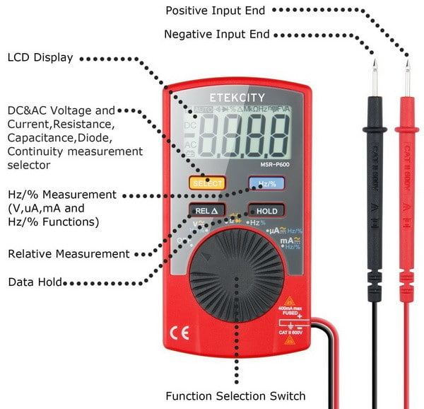 Auto Ranging Digital Multimeter (DMM) Multi Tester Voltmeter Ammeter Ohmmeter