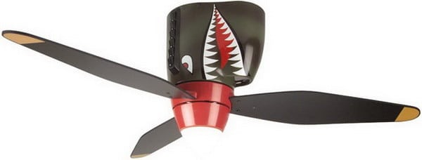 Craftmade WB3448TS 48-Inch 3-Blade Warplane Ceiling Fan with Integrated Light Kit, Tiger Shark