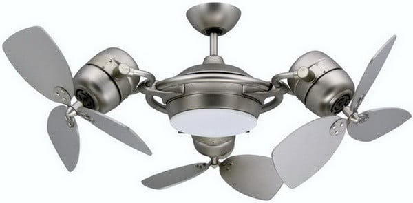 TriStar Contemporary Ceiling Fan in Satin Steel with 3 x 18 Blades & Includes Light and Remote