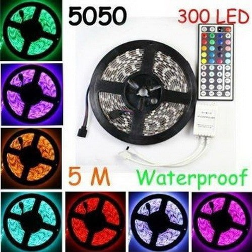 Waterproof Flexible strip Light 300 Leds Color Changing RGB SMD5050 LED Light Strip Kit
