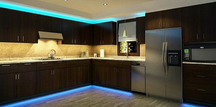 Gentil Kitchen Cabinets With LED Strip Lighting