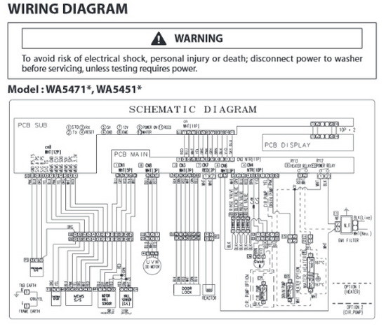 samsung wring diagram schematic WA5471 WA5451 samsung top load washer model wa5471 wa5451 troubleshooting wiring diagram for samsung vrt washer at bayanpartner.co