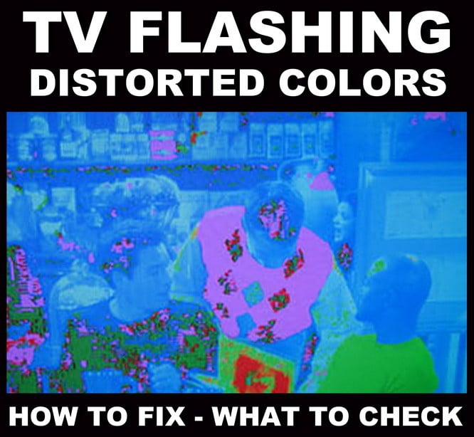 TV flashing different colors