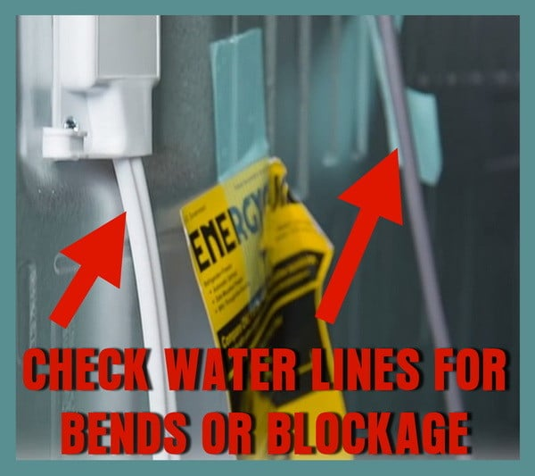 check water lines for bends or blockage