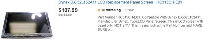 dynex TV replacement screen
