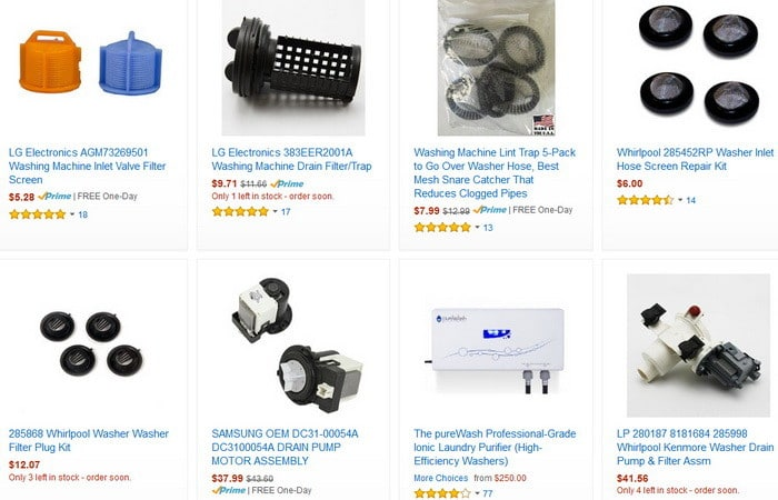 Front Load Washer Drain Pump Replacement Filters
