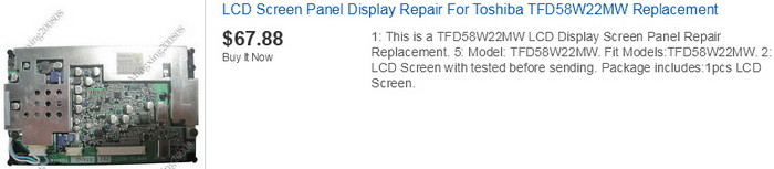 toshiba TV replacement screen