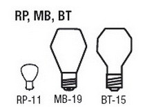 Bulb Sizes Shapes - RP MB BT Series Bulbs