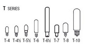 Bulb Sizes Shapes - T Series Bulbs