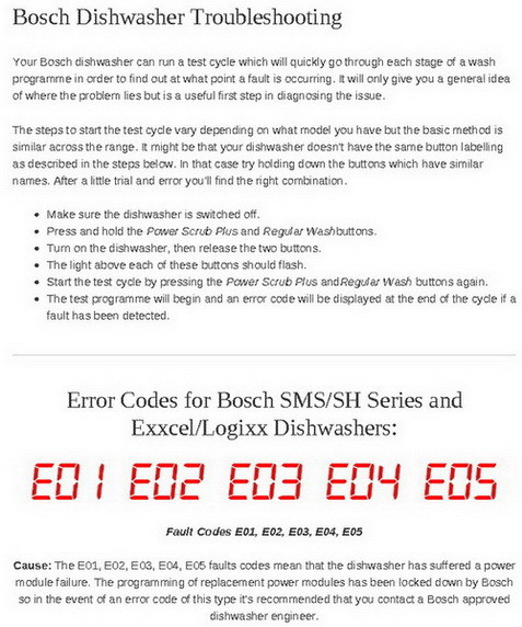 bosch error codes E