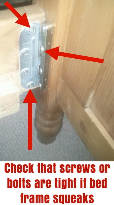 check that bolts or screws are tight if bed frame squeaks