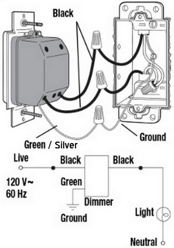 single pole one light dimmer wiring diagram1 new dimmer switch has aluminum ground can i attach to copper Dimmer Switch Installation Diagram at crackthecode.co