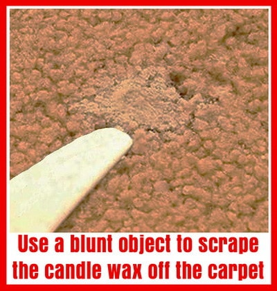 1 - Remove candle wax from carpet by first scraping