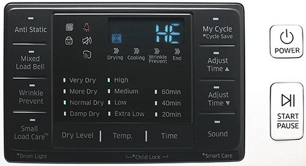 samsung dryer error fault codes what to check how to clear samsung dryer display panel he error code