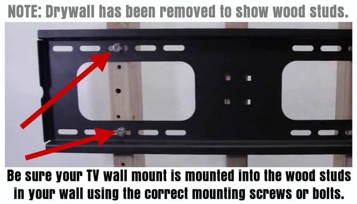 Tv wall mount mounted into wood studs