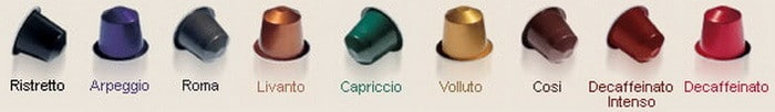 Nespresso capsule coffee types