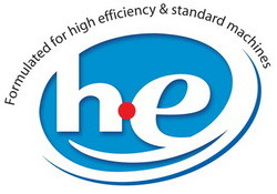 he high efficiency washer detergent logo