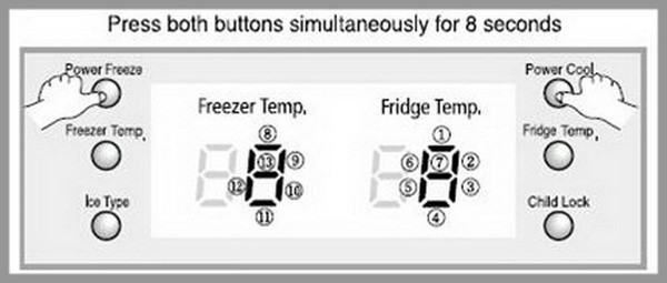 refrigerator display panel reset example