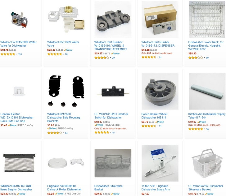 Dishwasher replacement parts for repairs