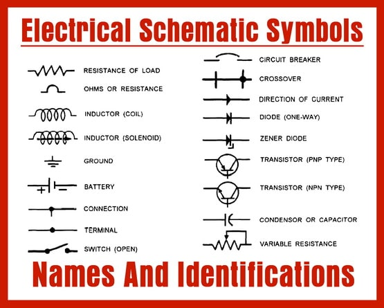 electrical schematic symbols names and identifications rh removeandreplace com dc wiring schematic symbols electrical wiring schematic symbols pdf