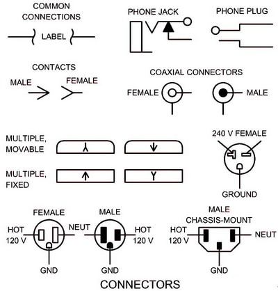 Electrical schematic symbols names and identifications electrical wiring schematic diagram symbols connectors cheapraybanclubmaster Choice Image
