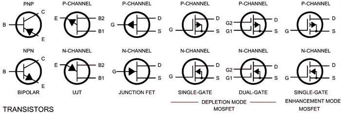 Electrical Wiring Schematic Diagram Symbols - TRANSISTORS