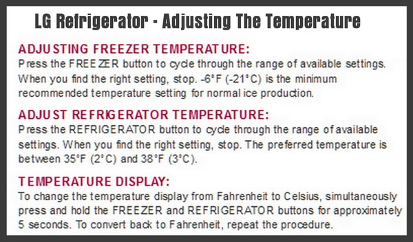 LG refrigerator adjusting the temperature