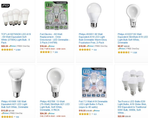 Dimmable LED light bulbs