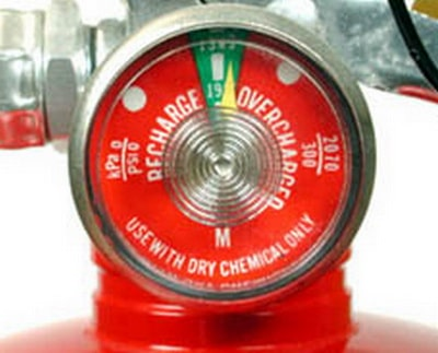 Fire extinguisher gauge in the green