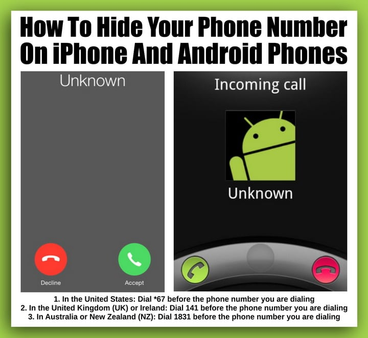 Hide phone number - iPhone Android