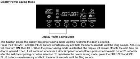 LG refrigerator display POWER SAVING MODE