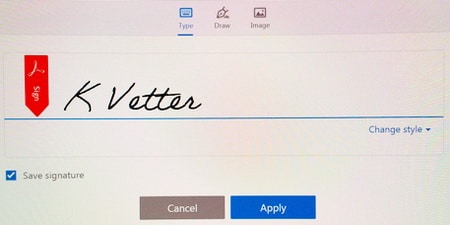 type your signature to sign pdf