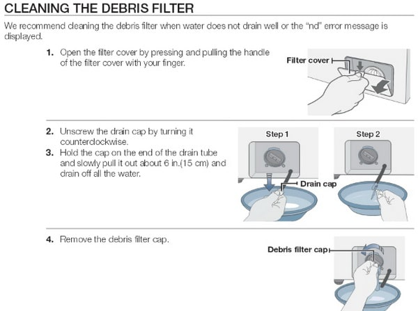Clean debris filter on Samsung front load washer