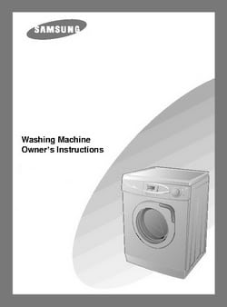 Samsung Front Load Washing Machine Owners Manual WF350AN, WF340AN, WF331AN, WF330AN